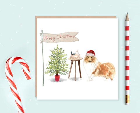 Rough Collie Christmas Card - Pack of 10 - Christmas Gift for Dog Lovers