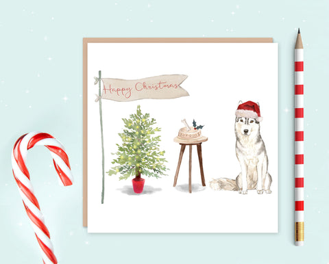 Siberian Husky Christmas Card - Pack of 10 - Christmas Gift for Dog Lovers