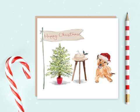 Border Terrier Christmas Card - Christmas Gift for Dog Lovers