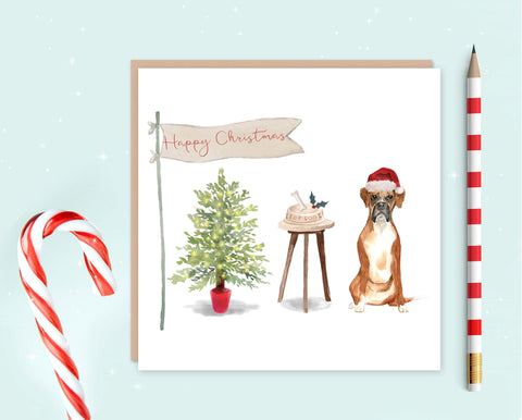 Boxer Dog Christmas Card - Pack of 10 - Christmas Gift for Dog Lovers