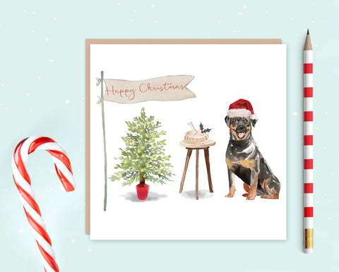 Rottweiler Christmas Card - Pack of 10 - Christmas Gift for Dog Lovers