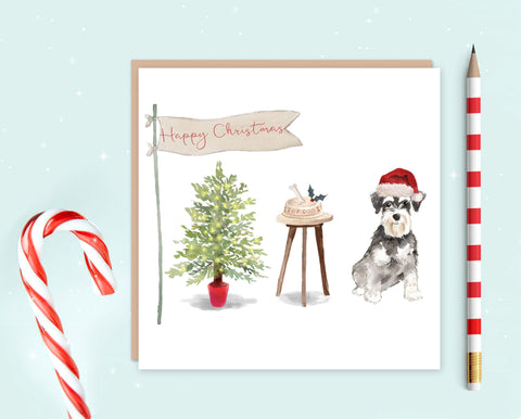 Schnauzer Christmas Card - Pack of 10 - Christmas Gift for Dog Lovers