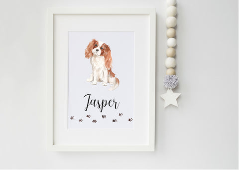 Cavalier King Charles Spaniel Dog Portrait - Ideal Christmas Gift for Dog Lovers - secret santa gift