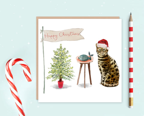Bengal Cat Christmas Card - Christmas Gift for Cat Lovers