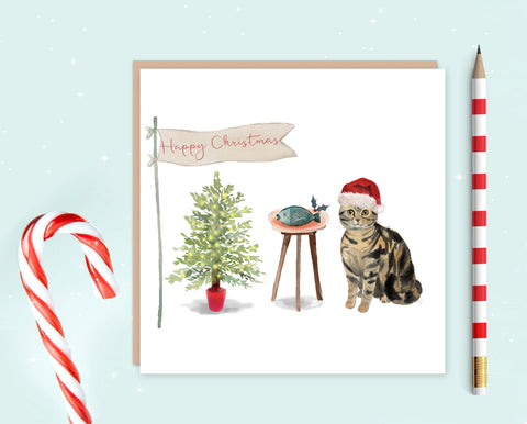 American Shorthair Cat Christmas Card - Christmas Gift for Cat Lovers