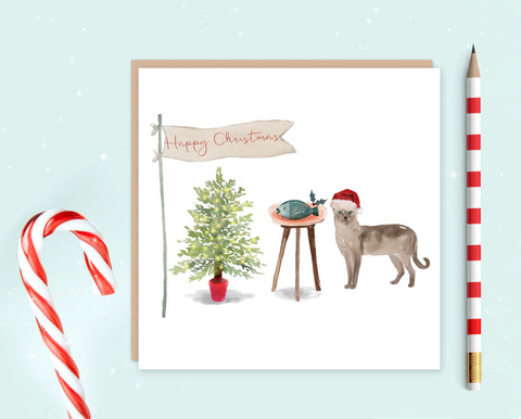 Tonkinese Cat Christmas Card - Christmas Gift for Cat Lovers