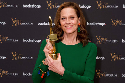 Sigorney Weaver receiving her ICON Award at the 2018 Voice Arts Awards.