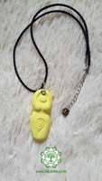 Goddess (Divine Feminine, Divine Mother) solar plexus chakra necklace in light yellow with Tiger Eye bead