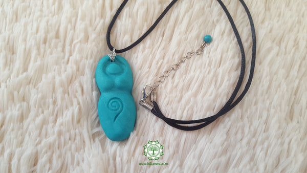 Goddess (Divine Feminine, Divine Mother) throat chakra necklace in shimmery teal with Turquoise bead
