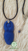 Goddess (Divine Feminine, Divine Mother) third eye chakra necklace in royal blue with Lapis Lazuli bead