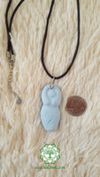 Goddess (Divine Feminine, Divine Mother) throat chakra necklace in light blue with Blue Calcite bead