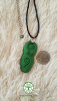 Goddess (Divine Feminine, Divine Mother) heart chakra necklace in dark green with Tree Agate (Dendritic Agate) bead