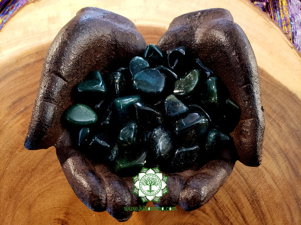Moss Agate medium tumbled stone .75 inch
