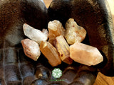 Hematite in Quartz Points thick medium/large rough points 1.25 inches