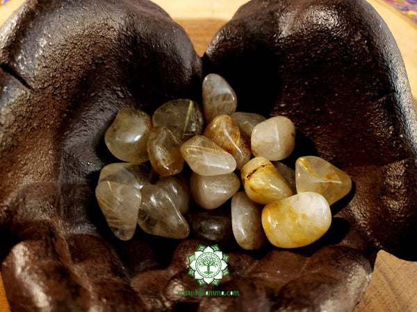 Rutilated Quartz medium tumbled stone .75 inch
