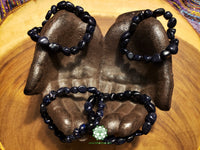 Blue Goldstone Tumbled Bead Stretchy Bracelet (8 inches)
