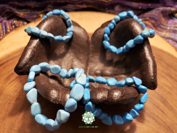 Blue Howlite Tumbled Bead Stretchy Bracelet (8 inches)