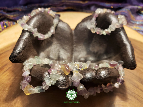 Rainbow Fluorite Chip Bead Stretchy Bracelet (7 inches)