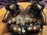 Blue Goldstone Chip Bead Stretchy Bracelet (7 inches)