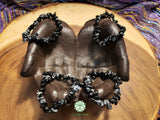 Snowflake Obsidian Chip Bead Stretchy Bracelet (7 inches)