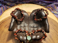 Brecciated & Red Jasper Chip Bead Stretchy Bracelet (7 inches)