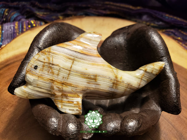 Large Hand-Carved Pakistani Onyx Dolphin 4 inches long (POA18)
