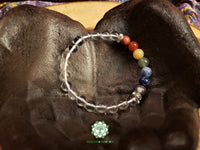 7 Chakras with Quartz Stretchy Bracelet (8 inches)