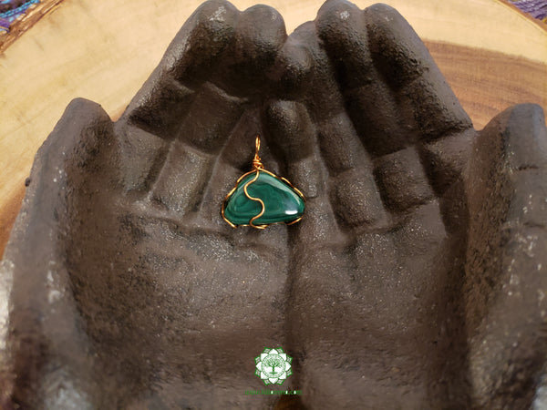Malachite Wire Wrapped Pendant 1.1x1.2 inches (WW05)