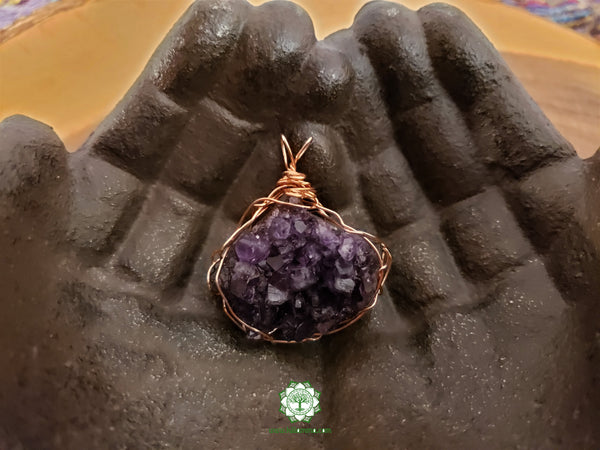 Uruguayan Amethyst Cluster Wire Wrapped Pendant 1.8x1.6 inches (WW22)