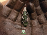 Ruby in Fuchsite Wire Wrapped Pendant 1.9x.5 inches (WW26)