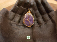 Amethyst Wire Wrapped Pendant 1.9x1.1 inches (WW35)