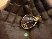 Rainbow Fluorite Wire Wrapped Pendant 1.8x1.3 inches (WW36)