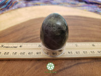Rainbow Fluorite (Yoni) Egg medium/large 34x44mm polished crystal egg with stand (EG01)