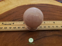 Rose Quartz Sphere 40mm crystal ball with stand (CB04)