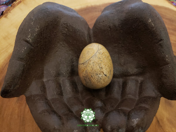 Picture Jasper (Bigg's Brown Jasper) Egg medium/large 35x47mm crystal (yoni) egg with stand (EG04)