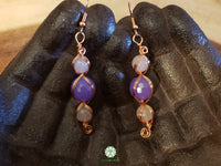 Lavender Jade and Rose Quartz Wire Wrapped Earrings (WWBE01)