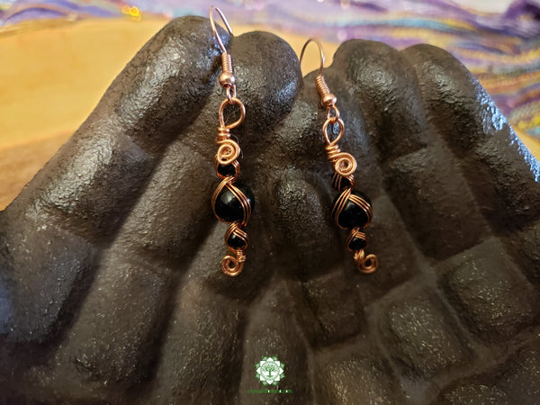Black Onyx Wire Wrapped Earrings (WWBE02)