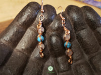 Turquoise and Rose Quartz Wire Wrapped Earrings (WWBC03)