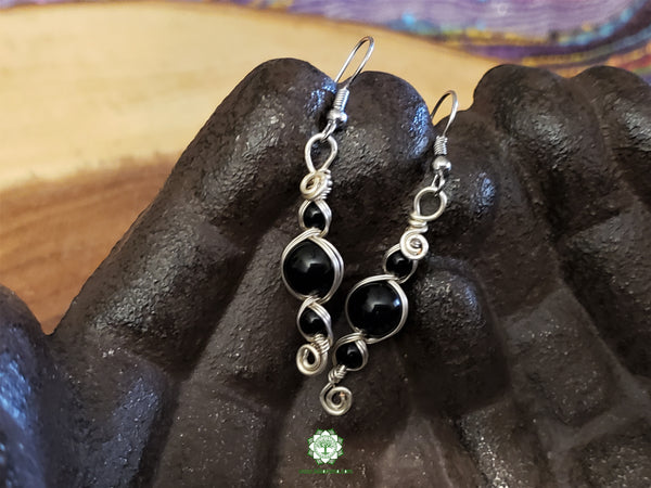 Black Onyx Wire Wrapped Earrings (WWBE05)