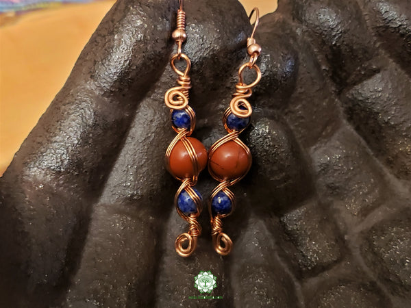 Lapis Lazuli and Red Jasper Wire Wrapped Earrings (WWBE06)