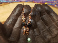 Quartz and Lava Rock Wire Wrapped Earrings (WWBE09)