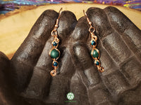 Chrysocolla and Malachite Wire Wrapped Earrings (WWBE10)