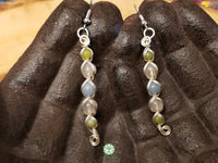 Angelite, Rose Quartz and Serpentine Wire Wrapped Earrings (WWBE12)