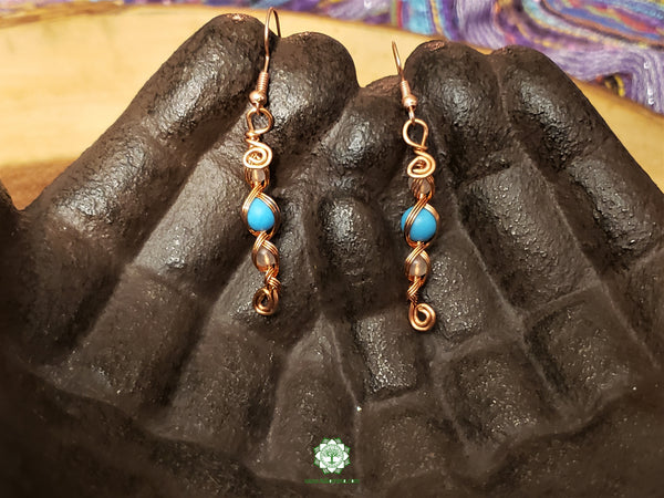 Turquoise and Rose Quartz Wire Wrapped Earrings (WWBC14)