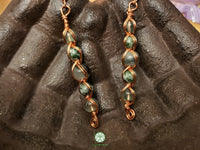 Green Fluorite, Moss Agate and Tree Agate Wire Wrapped Earrings (WWBE15)
