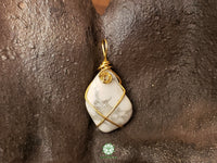 Howlite Wire Wrapped Pendant 1.3x.6 inches (WWP112)