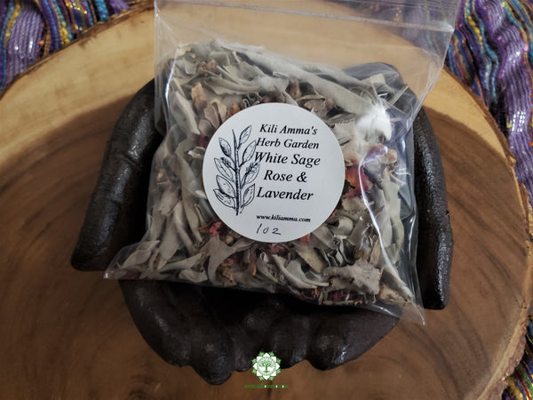 Loose California White Sage, Rose, Copal and Lavender smudge mix Reiki infused (1 ounce)
