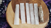 Selenite Power Wand and Charging Base 6x1 inch