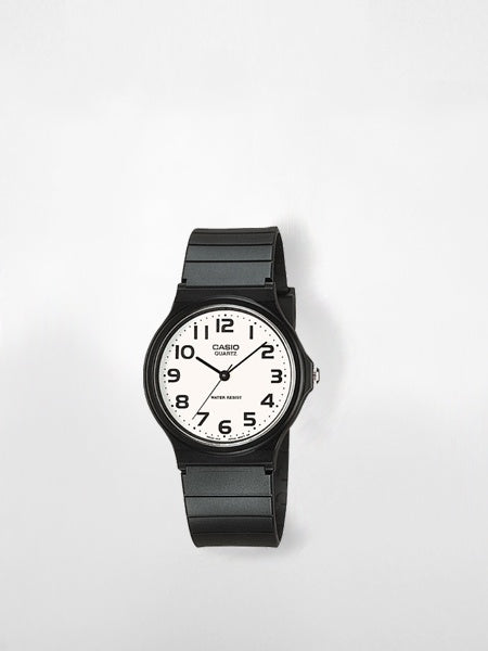 Casio - Analog Resin Band Watch / Black & White