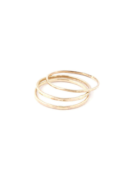 Hammered 1mm Ring / Gold